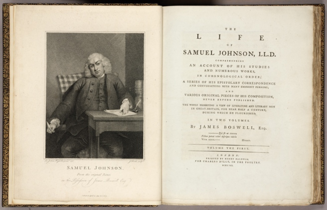 Frontispiece and title page of Boswell's The Life of Samuel Johnson. Huntington Library, Art Collections, and Botanical Gardens